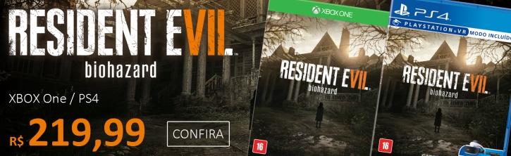 Resident Evil 7 para XBOX One e PS4 por R$ 219,99